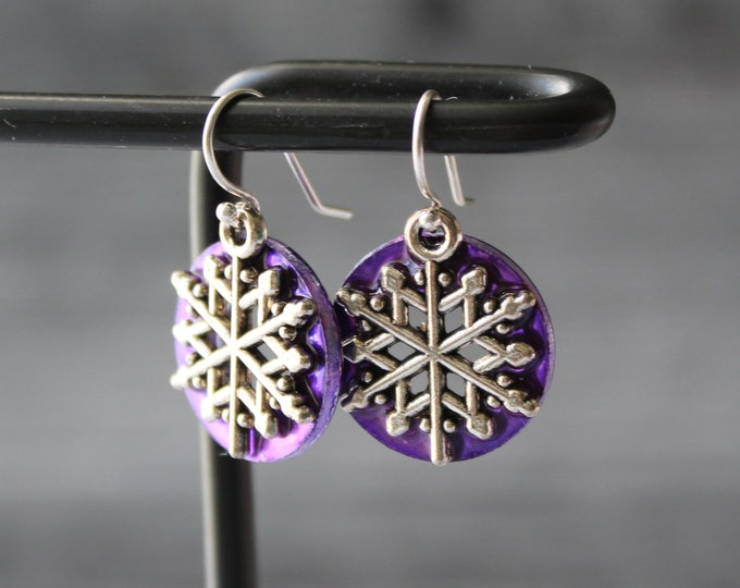 snowflake earrings, purple, winter jewelry, unique gift