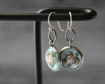 turtle earrings on sterling silver ear wires, ocean themed jewelry, unique gift, ice blue