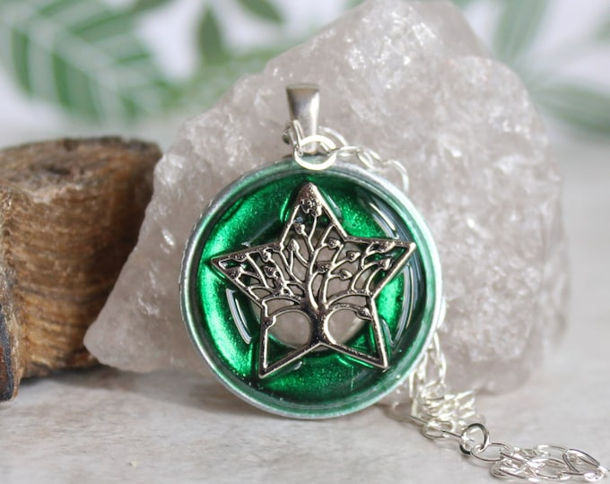 forest green tree necklace, tree of life, ready to ship, nature necklace, unique gift, wiccan jewelry, wicca pendant, gift for her