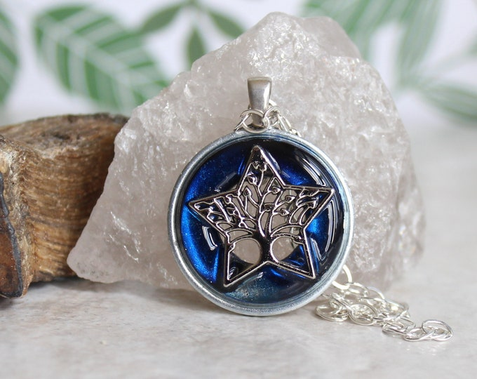 royal blue tree of life necklace, star necklace, ready to ship, tree jewelry, nature necklace, unique gift, wiccan jewelry, wicca pendant