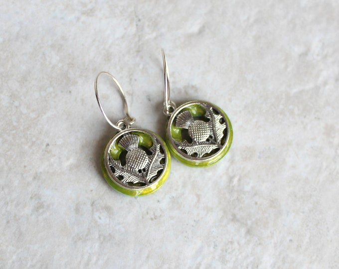 key lime Scottish thistle hoop earrings, Scottish jewelry, unique gift, hoop with charm, floral jewelry, nature jewelry