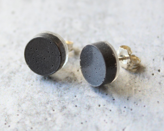 gray circle earrings with sterling silver posts, unique gift, minimalist jewelry