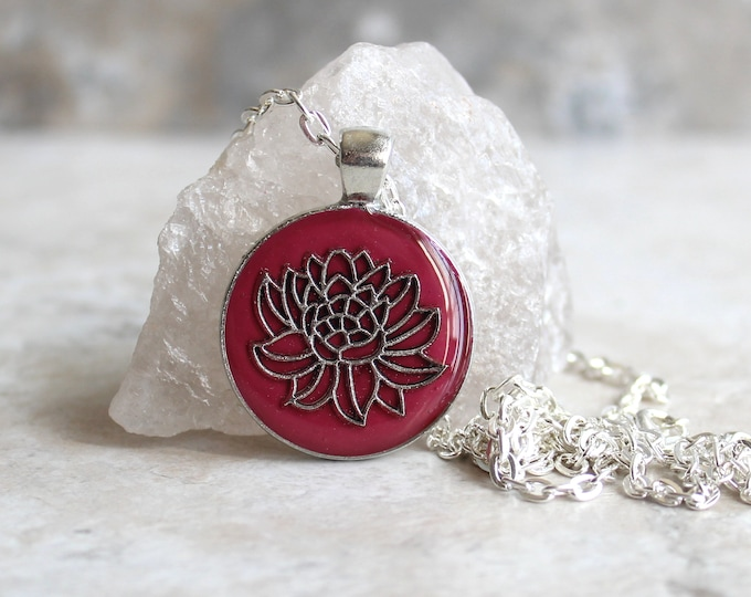 wine lotus flower necklace, water lily, nature necklace, floral jewelry, unique gift, woman gift, spiritual jewelry, gift for her