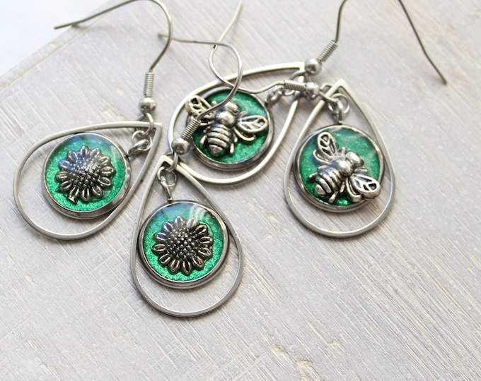 bee and sunflower earrings gift set, 2 pairs, stainless steel ear wires