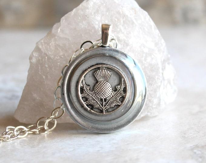 silver gray Scottish thistle necklace, Scotland jewelry, thistle pendant, unique gift, floral jewelry, Scottish wedding, Celtic jewelry
