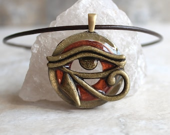 copper Eye of Horus necklace, eye of Ra jewelry, Egyptian pendant, mens jewelry, boyfriend gift, mens necklace, unique gift