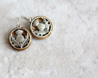 golden Scottish thistle earrings, flower dangle earrings, Scottish jewelry, unique gift, gift for her, nature jewelry