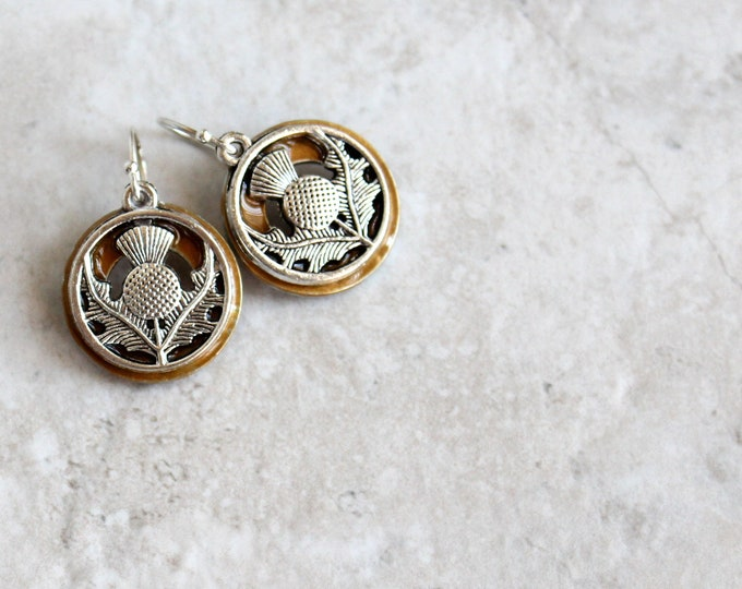 golden Scottish thistle earrings, flower dangle earrings, Scottish jewelry, unique gift, gift for her, nature jewelry