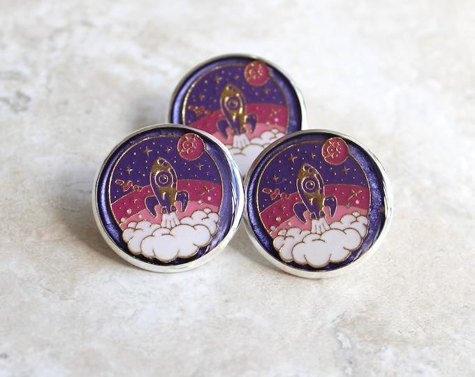 purple rocket ship pin, lapel pin, scarf pin, spaceship brooch, bag pin, purse pin, lanyard pin, gift for women, space theme, unique gift