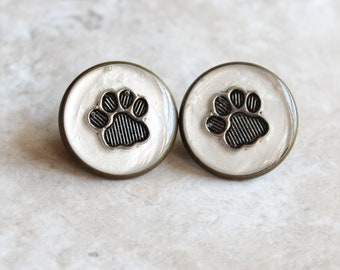 white paw print pin, lapel pin, tie tack, dog paw, cat paw, animal paw, veterinarian pin, vet tech pin, unique gift, graduation gift