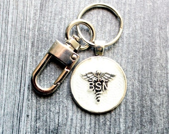 BSN keychain, Bachelor of Science Nursing keyring, BSN gift