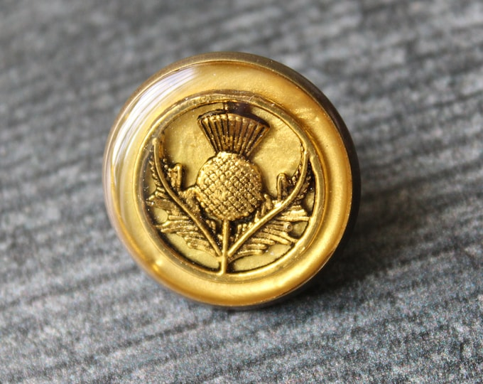 gold and gold Scottish thistle tie tack, lapel pin, mens jewelry, Scottish jewelry, floral pin, brass back, unique gift