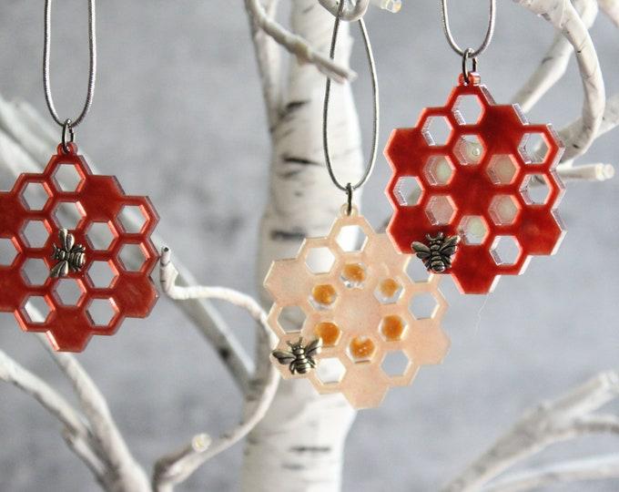 honeycomb ornaments, set of 3, miniature tree, spring ornaments, summer ornaments