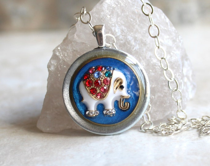 blue elephant necklace, nature necklace, elephant jewelry, spirit animal, good luck charm, unique gift, gift for her, co-worker gift