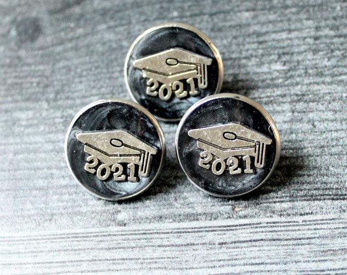 2021 graduation pin, black, unique gift, lapel pin, tie tack, academic cap, graduate cap, mortarboard, trencher