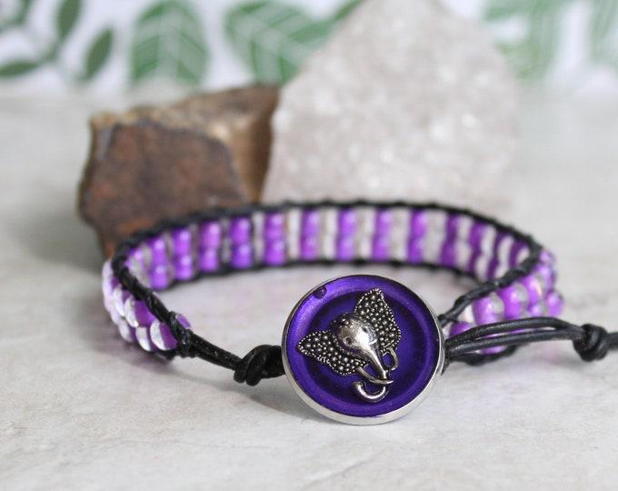 purple elephant bracelet, wrap beaded bracelet, cord bracelet, nature jewelry, spirit animal, good luck charm