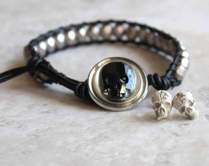 skull bracelet and earrings set, black skull, skull jewelry, unique gift, skull stud earrings, gift set, mens gift, gift for him, woman gift
