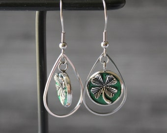 green four leaf clover earrings on stainless steel ear wires, unique gift, good luck charm, 4 leaf clover jewelry