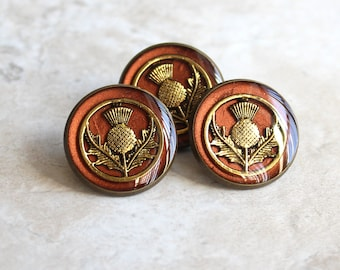 copper and gold Scottish thistle tie tack, lapel pin, mens jewelry, Scottish jewelry, floral pin, Scottish wedding, unique gift