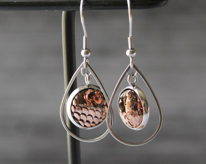 copper mermaid scale earrings on stainless steel ear wires, unique gift, dragon scales