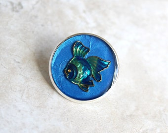 blue fish pin, lapel pin, scarf pin, fish brooch, bag pin, purse pin, tropical fish, gift for women, beach theme, unique gift