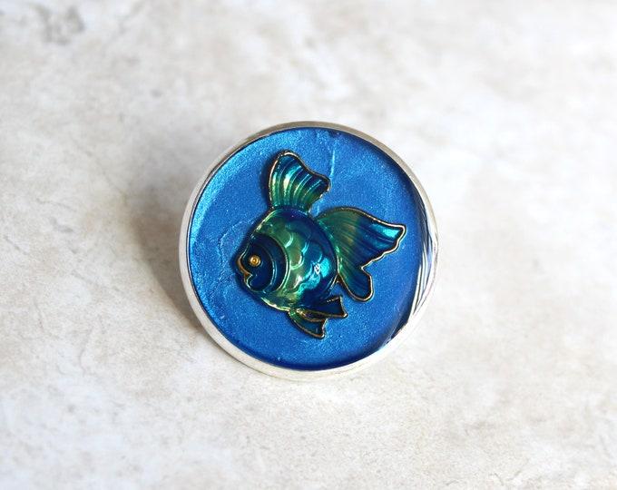 blue fish pin, lapel pin, scarf pin, fish brooch, bag pin, purse pin, tropical fish, gift for women, beach theme, unique gift