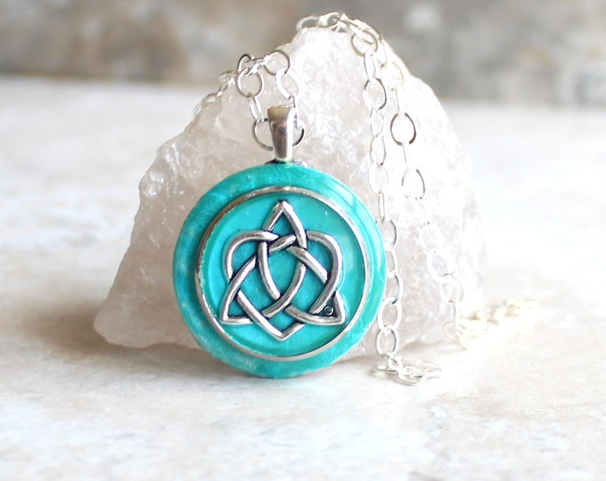 turquoise Celtic sister knot necklace, celtic knot jewelry, triquetra necklace, valentine necklace, sister gift, best friend, unique gift