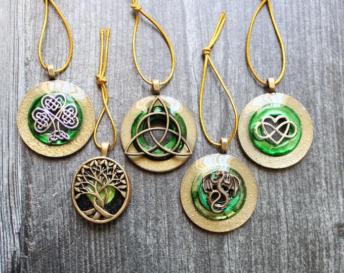 Celtic ornaments, set of 5, table top tree ornaments, spring tree decorations, miniature tree, Irish tree ornaments