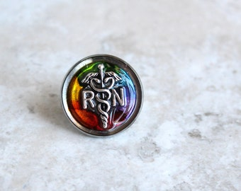 rainbow registered nurse pin, RN pinning ceremony, nurse graduation gift, white coat ceremony, graduation gift