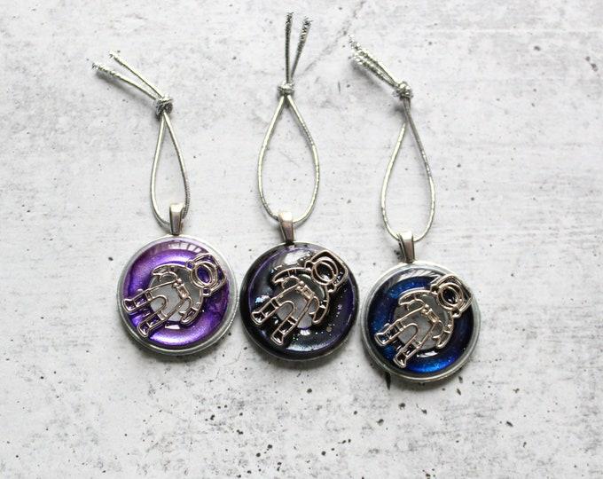 astronaut tree ornaments, set of 3, galactic purple, table top tree ornaments