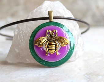 bee necklace, glow in the dark, honeybee jewelry, bumblebee pendant, nature necklace, unique gift, boho jewelry, hippie jewelry