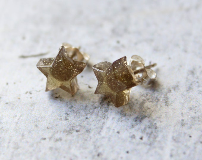 golden star earrings with sterling silver posts, unique gift, celestial jewelry