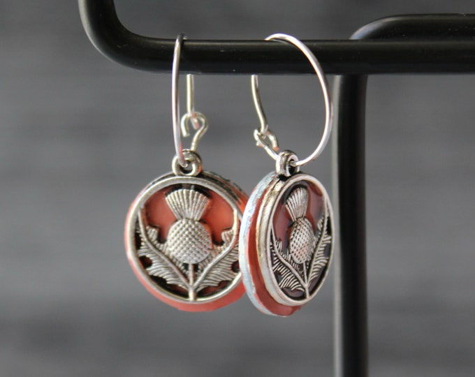 Scottish thistle earrings on sterling silver hoops, coral, unique gift, floral jewelry