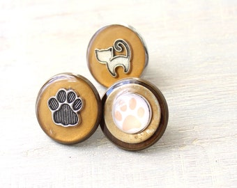 cat lover lapel pin set of 3. cat pin, paw print pin, unique gift
