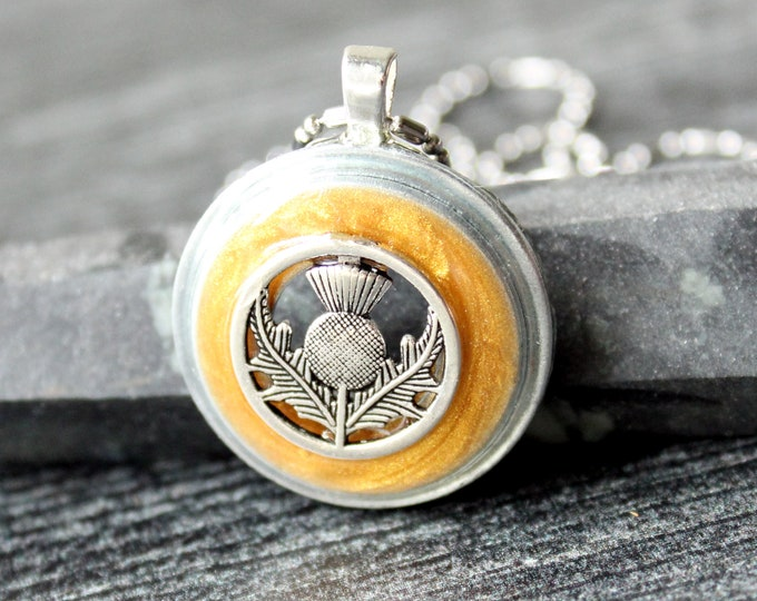 Scottish thistle necklace, golden, unique gift, nature necklace, mothers day gift, flower jewelry