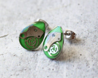 steampunk watch gear earrings with stainless steel posts, unique gift