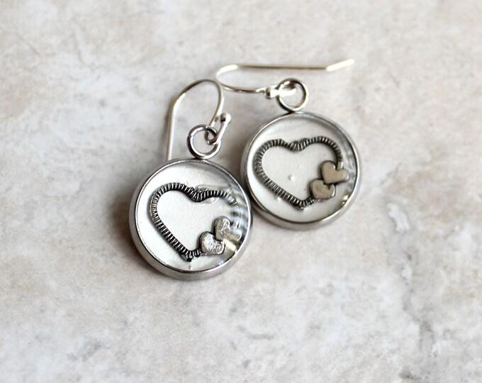white heart earrings, valentine jewelry, unique gift, heart jewelry, romantic gift, valentine gift, valentine earrings, sterling silver