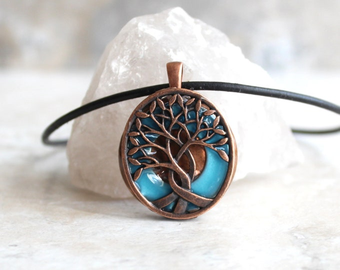 blue tree of life necklace, glow in the dark, celtic tree, nature necklace, mens pendant, mens necklace, boyfriend gift