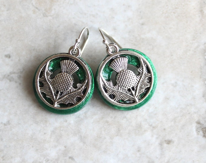 emerald green Scottish thistle earrings, sterling silver ear wire, flower dangle earrings, Scottish jewelry, unique gift, gift for her