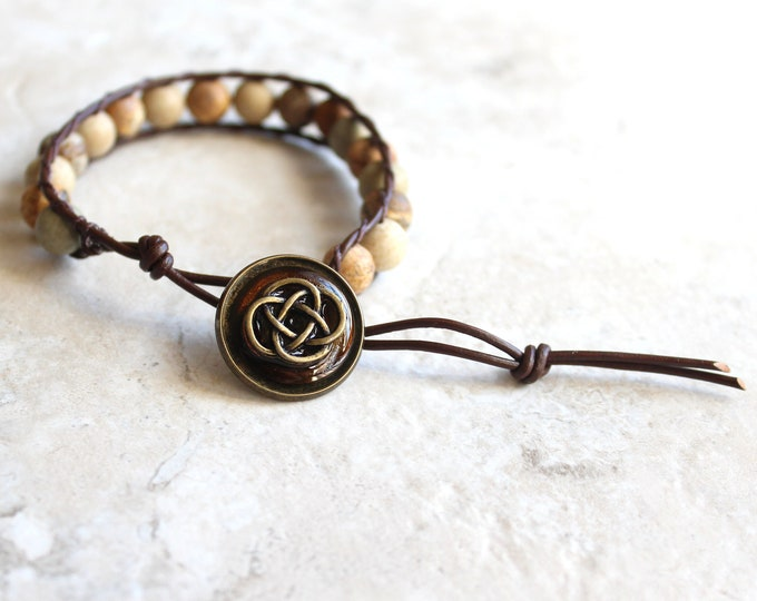 Celtic knot bracelet, mens bracelet, mens jewelry, picture jasper, unique gift, beaded bracelet, celtic jewelry, friendship bracelet