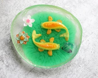koi fish pond, table top decoration, paper weight, hostess gift, unique gift, good luck, koi fish diorama