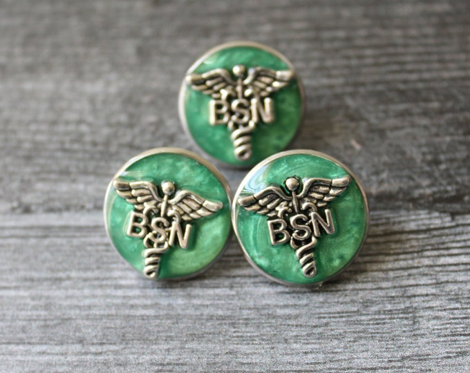 Bachelor of Science nursing pin, BSN pinning ceremony, nurse graduation gift, white coat ceremony, aqua green