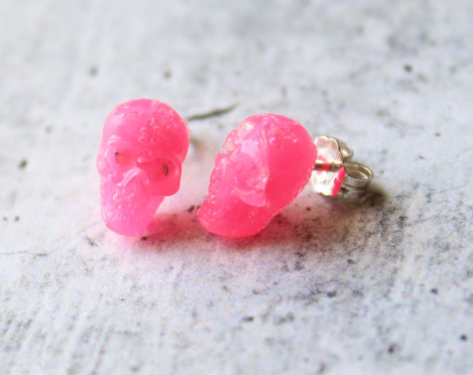 pink skull earrings with sterling silver posts, unique gift, goth jewelry