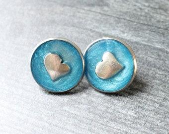 heart pin, lapel pin, tie tack, blue, romantic gift
