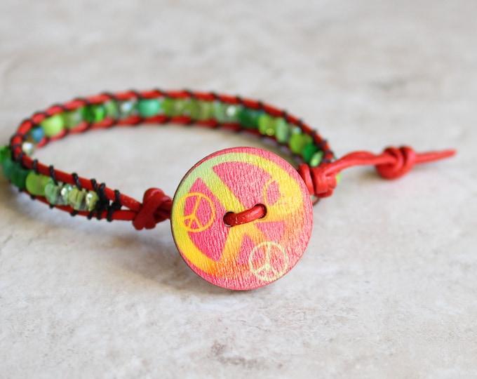 green peace bracelet, peace sign, hippie jewelry, unique gift, stocking stuffer, hippie gift, 70s jewelry, bohemian bracelet
