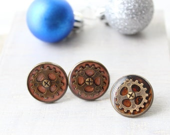 steampunk gift set, gear cufflinks, gear tie tack, mens jewelry
