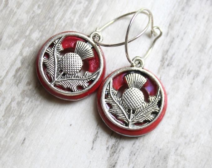 rose Scottish thistle earrings on sterling silver hoops