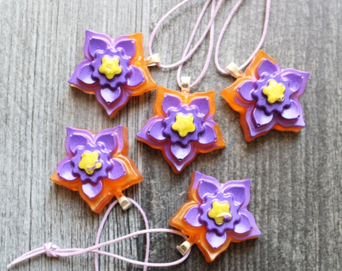 flower ornaments, set of 5, purple and orange, table top tree ornaments, spring tree decorations, miniature tree
