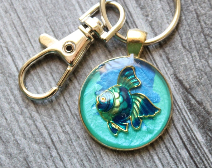 fish keychain, tropical fish keyring, cute gift, backpack bling