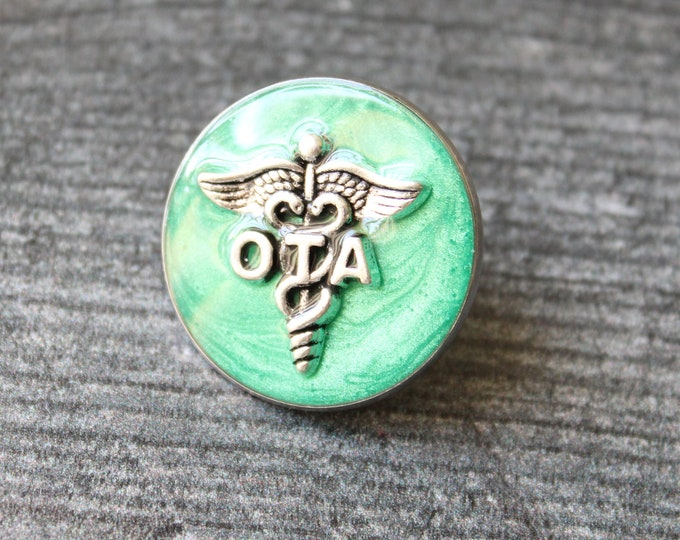 occupational therapy assistant pin, OTA pinning ceremony, white coat ceremony, occupational therapist aide, aqua green, large